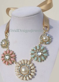 Seafoam Green PInk & Cream Rhinestone Statement Necklace Flower Multi color Briolette Bib Bubble Statement Necklace