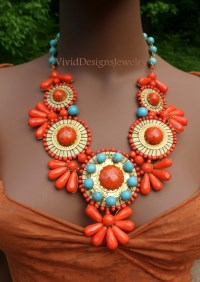 Turquoise and Coral Necklace - Tribal Necklaces -Coral and Blue Statement Necklace