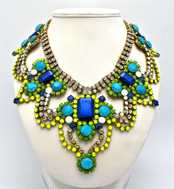 Yellow Blue Turquoise Multi color Custom Crystal Bib Chandelier Statement Necklace VividDesignsJewelry.com