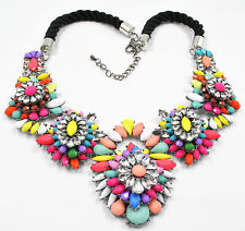 VividDesignsJewelry.com Seafoam Pink Blue White Yellow Green Blue and Purple Multicolor Crystal Bib Statement Necklace 01