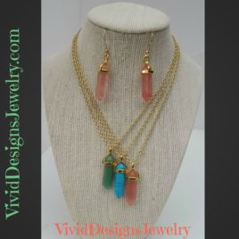 Crystal Quartz Statement Necklace Earring Set Green Turquoise Coral Multi Color