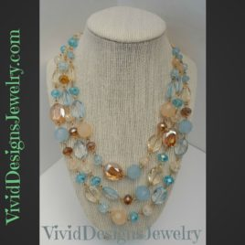Blue Multicolor Crystal Beaded Layered Briolette Bib Bubble Statement Necklace