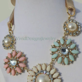 Crystal Statement Necklace -Seafoam-Green-Pink & Cream-Multi-Color Crystal Flower Briolette Necklace