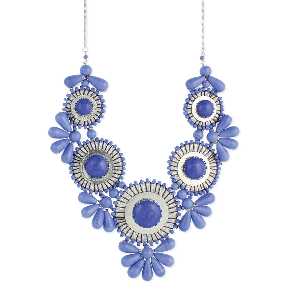 Unique Beaded Periwinkle Seashell Coloring Page: Periwinkle Statement Necklace -Bib Bubble Necklace