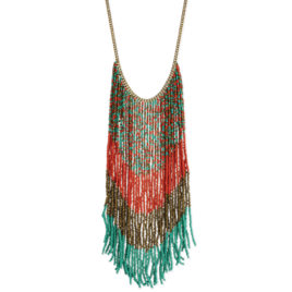 Fringe Statement Necklace -Coral-Bronze-Teal Bead Long Fringe Multi Color Statement Necklace!