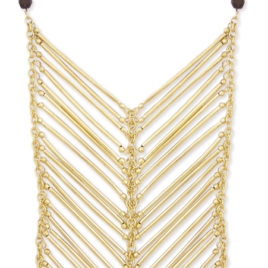 Gold Bar Chevron Necklace -Long Statement Necklace
