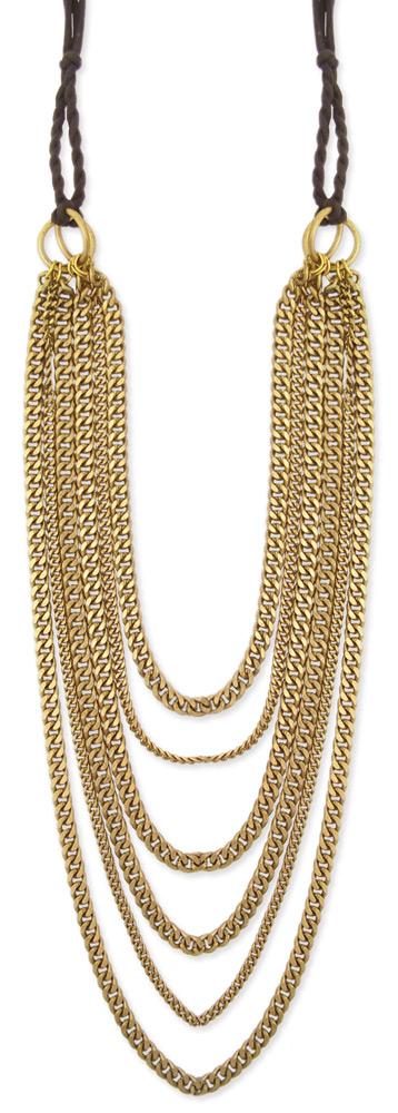 long gold layered chain necklace 6 line metal graduating. Black Bedroom Furniture Sets. Home Design Ideas