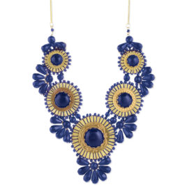 Blue Statement Necklace Bib Bubble Necklace