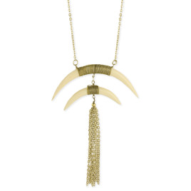 Double White Horn Gold Tassel Necklace -Long Statement Necklace