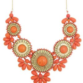 Coral Statement Necklace -Orange Bib Bubble Necklace