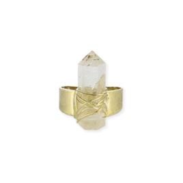 Gold Wire Wrapped Quartz Statement Ring